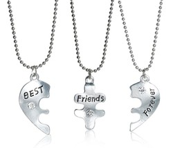 "Set THREE Necklaces Pendant Broken Heart Crystal ""BEST Friends Forever"" ... - $6.92"