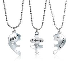 "Set THREE Necklaces Pendant Broken Heart Crystal ""BEST Friends Forever"" ... - $6.92"