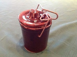 """4"""" Brown Ceramic Glazed Container Jar Storage Canister Metal Top Clamp - $12.78"""