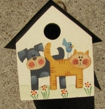 2104DC - Dog & Cat Birdhouse Wood with Tin Roof  - $4.95