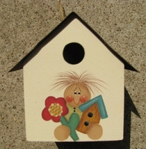 2104G Girl flower Tin Roof Birdhouse Wood with Tin Roof  - $4.95