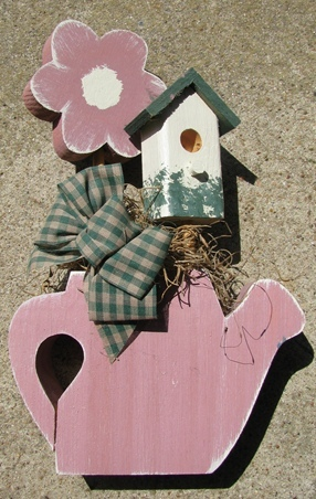 782BD - Mauve Daisy Birdhouse - Teapot Wood with gingham bow and moss - $9.95