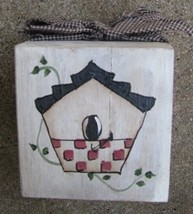 874B - Birdhouse Block Wood with gingham ribbon  - $5.95