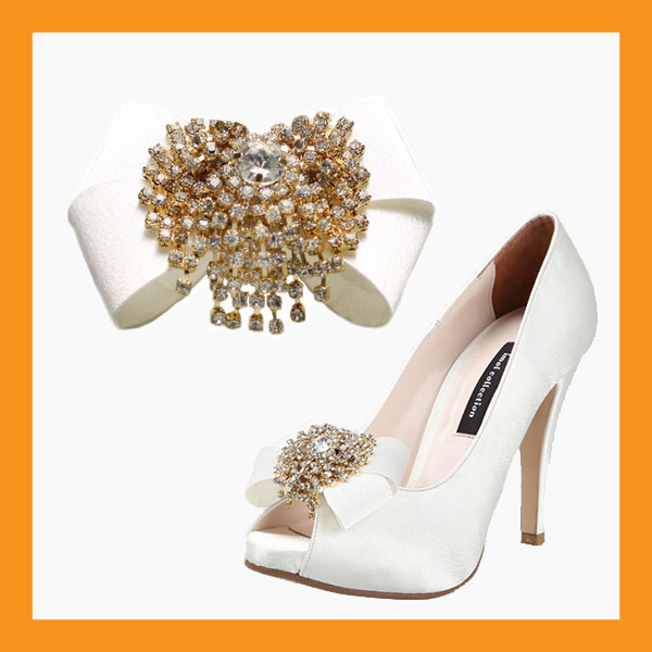 luxurious wedding shoes corsages bridal ribbons cubic accessory satin clip heel - $33.00