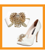 luxurious wedding shoes corsages bridal ribbons cubic accessory satin cl... - $32.00
