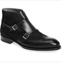 Handmade Men black leather boots, Men Black monk strap chukka boot, Leather boot - $169.99