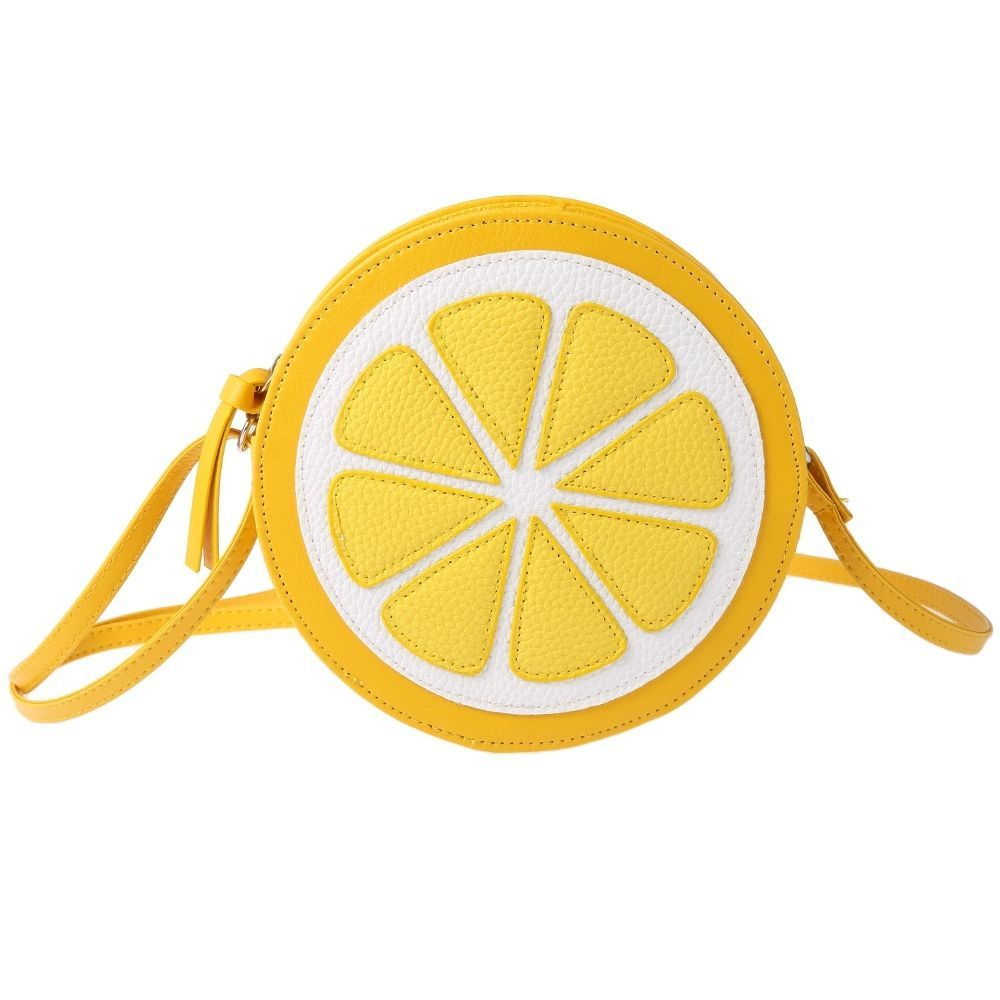 Round Lemon Pattern Zipper Crossbody Shoulder Dual Purpose Mini Bags