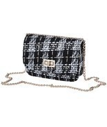 Elegant Women Messenger Chain Bag Striped Woolen Cloth Mini One Shoulder... - £6.25 GBP+