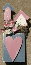 9182bhm- Birdhouse Mauve with blue heart  Wood  with floral bow and moss  - $9.95