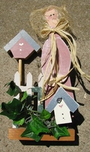 918MB -Girl Mauve w/birdhouse fence and greenery  - $8.95