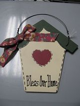 BOHG - Bless Our Home Birdhouse Green Wood with cloth bow  - $1.95