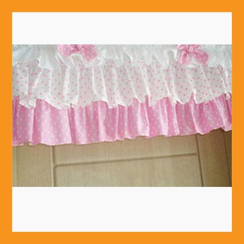 Pink Dot Ruffled Valance Curtain Window Treatment Kitchen