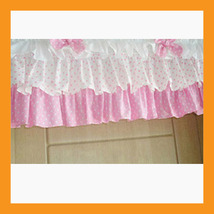 pink dot ruffled valance curtain window treatment kitchen waverly drape ... - $39.00