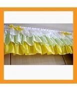 green layered valance ruffle ribbon curtain window door treatment kitche... - $39.00