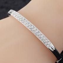 Swarovski Silver-Colored Crystal Hinged Bangle Nice! - $49.49