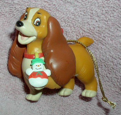Disney Lady & Tramp Lady with snowman Ornament