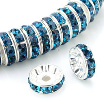 100 Pcs Silver Plated Crystal Rondelle Spacer Beads 10mm. Style - Blue Z... - $24.95