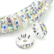100 Pcs Silver Plated Crystal Rondelle Spacer Beads 10mm. Style - Aurore Boreale - $24.95