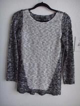 ALFANI Sequin Embellished White Gray Metallic Knit Tunic Sweater Top XS ... - $16.99