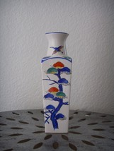 Vintage Porcelain Japanese Flower VASE Hand Crafted Painted White Blue B... - $26.99