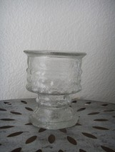 Vintage Mid Century LE Smith Ice Reversible Glass Candle Holder Votive T... - $9.95