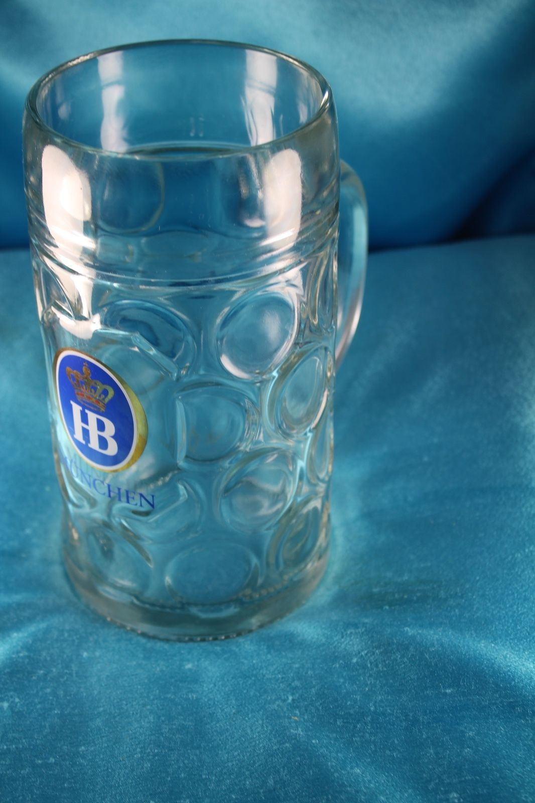 "Primary image for LARGE 1 Liter HB Hofbrauhaus Munchen Dimpled Glass 8"" German Beer Mug Stein"
