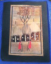 Village scene Marquetry African Folk Art #12 - $5.00