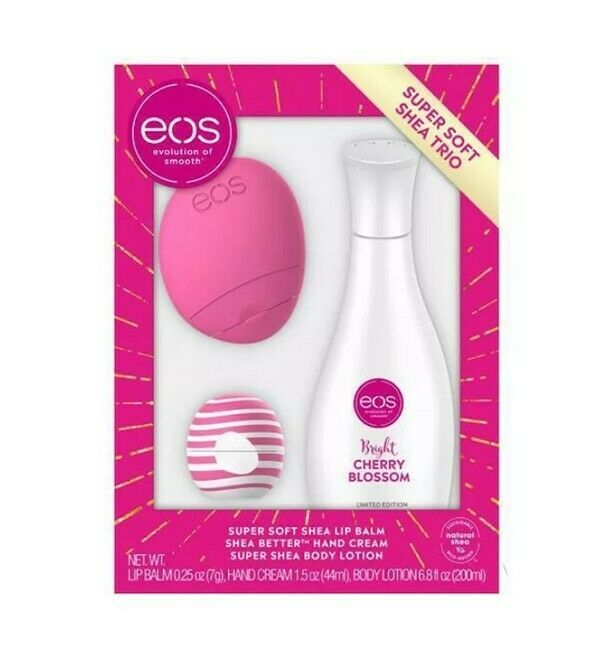 Primary image for EOS Super Soft Shea Trio Set New Bright Cherry Blossom Hand Body Lotion Lip Balm