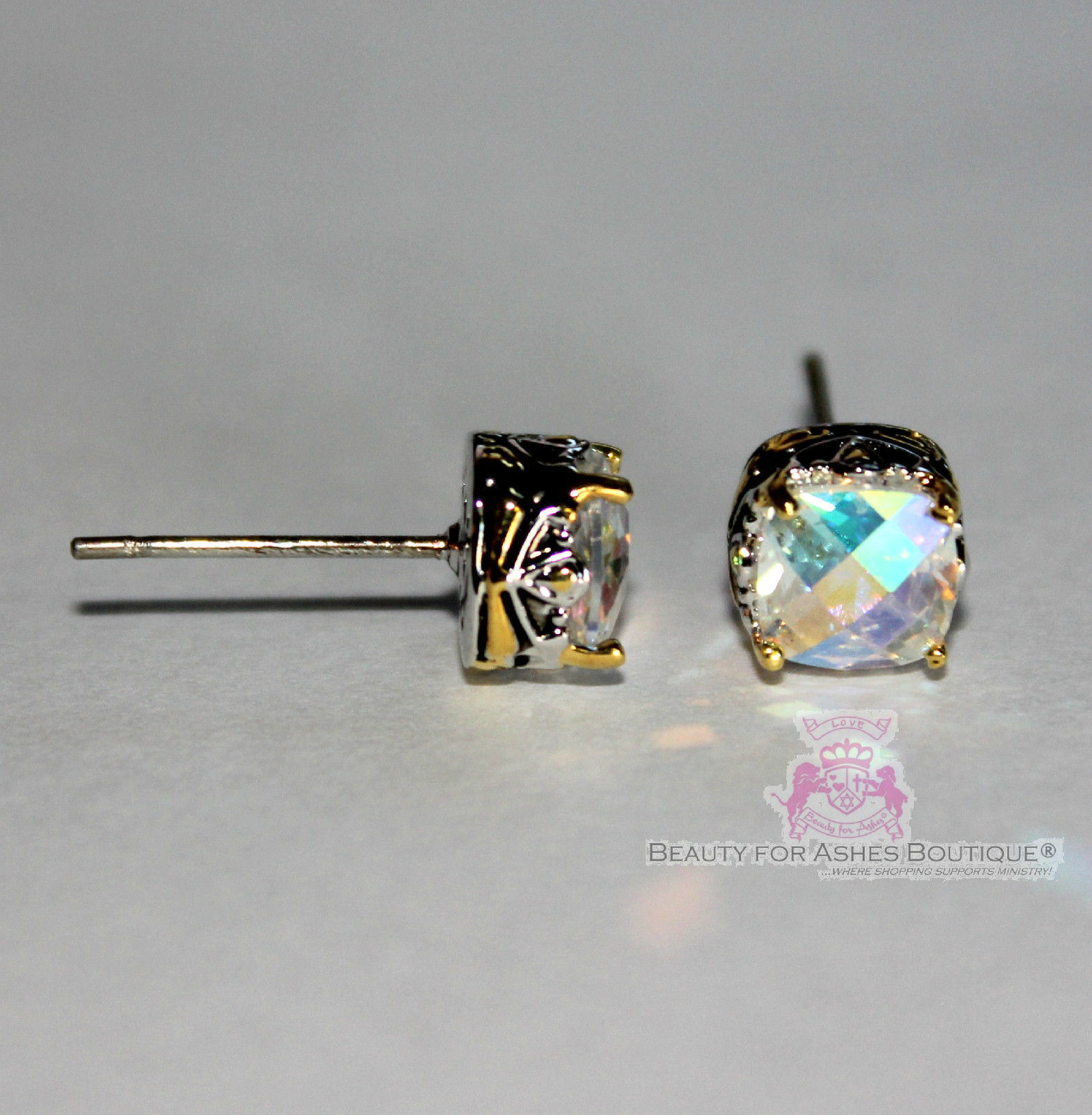 Beauty for Ashes 6mm Throne Room Mini CZ Checkerboard Cut Center Post Earrings