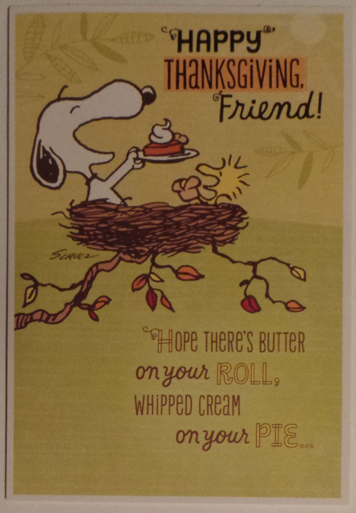 "Charlie Brown and Friends Peanuts Thanksgiving Card ""Happy Thanksgiving Fiend!"""
