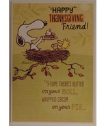 "Charlie Brown and Friends Peanuts Thanksgiving Card ""Happy Thanksgiving ... - $2.99"