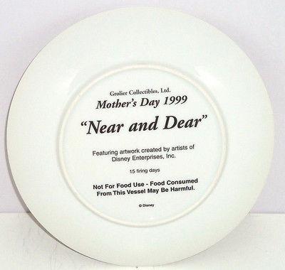 Bambi Plate Mothers Day Near Dear Deer Collector Grolier Disney 1999