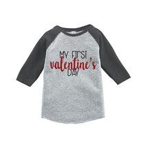 Custom Party Shop Kids My First Valentine's Day 5T Grey Raglan - $20.58