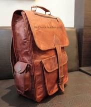 Men's genuine leather vintage laptop backpack rucksack men messenger bag... - $50.66