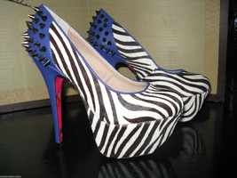 Betsey Johnson Grace zebra heel stiletto platform pin-up rockabilly 6.5 ... - $116.51