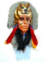 Huge Bear Indian Head Hand Crafted Poly-resin Wall Sculpture Cowboys Hor... - $24.74