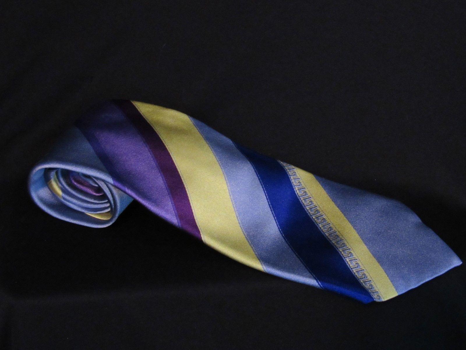 b3f0a6728b96 Gianni Versace Tie, Blue, Gray, Purple & Yellow Stripes, 100% Silk