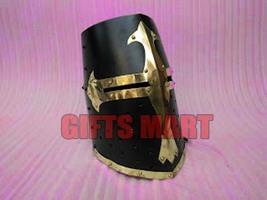 Crusader Templar Knight Armour Helmet-With-Black & Brass Design Helmet - $99.99