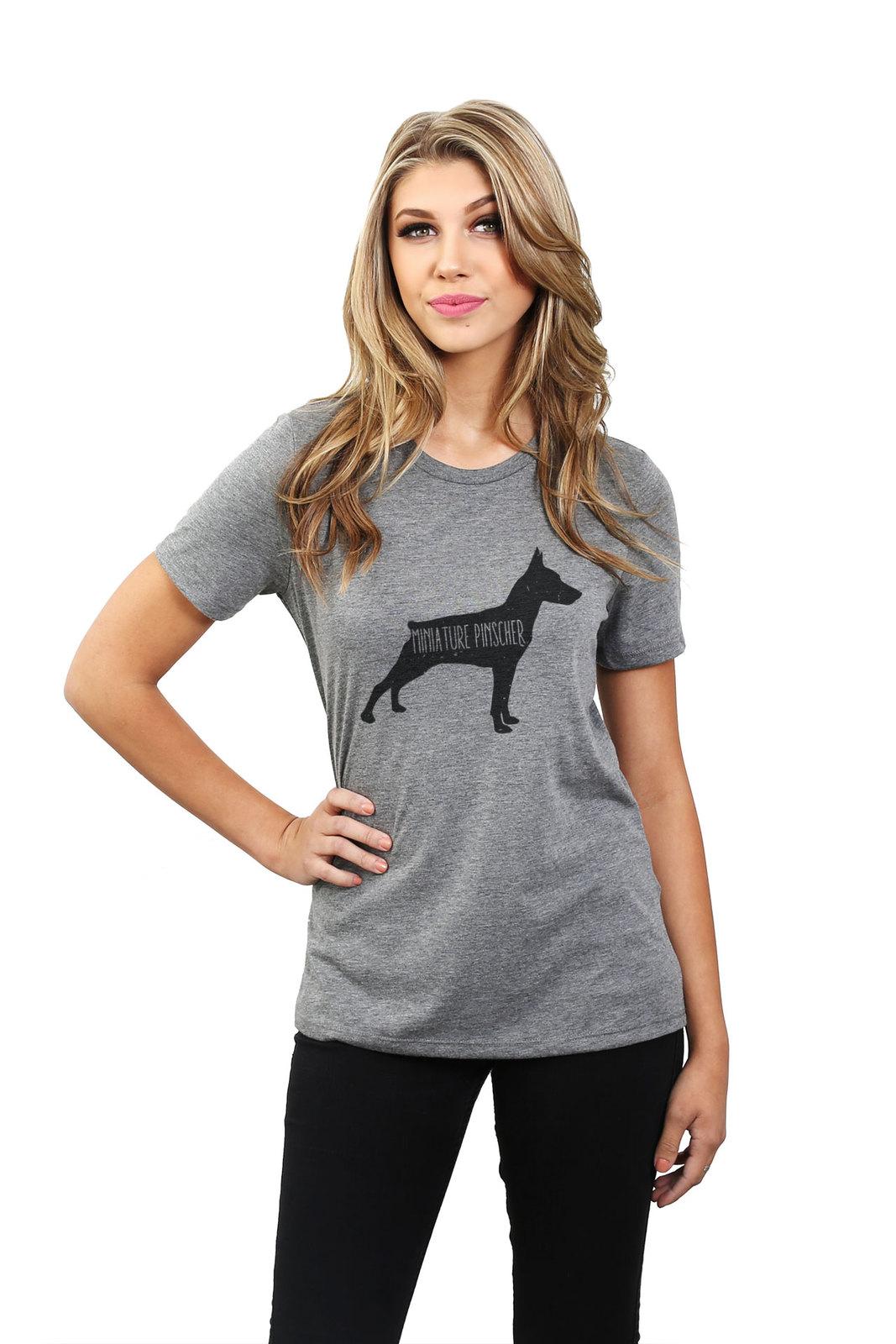 Thread Tank Miniature Pinscher Dog Silhouette Women's Relaxed T-Shirt Tee Heathe