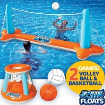 Inflatable Pool Float Set Volleyball Net  Basketball Hoops; Balls Includ... - $37.54