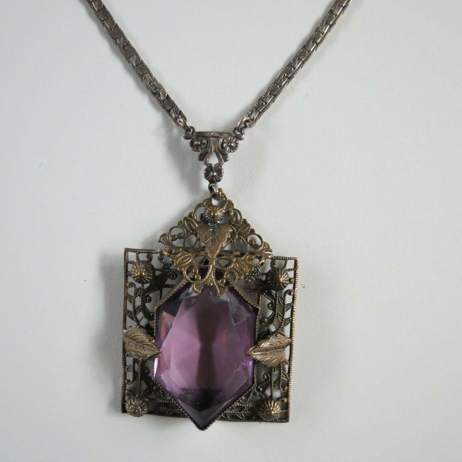 Antique Neiger Eduardian Purple bronze amethyst glass necklace Czech 18in 1900