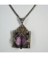 Antique Neiger Eduardian Purple bronze amethyst glass necklace Czech 18i... - $287.09