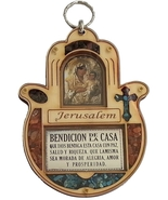Wood hamsa with Spanish home bless ornament cross Maria and Jesus Bendic... - £13.60 GBP