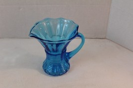 """vintage blue glass small water pitcher vase 4"""" ... - $15.00"""