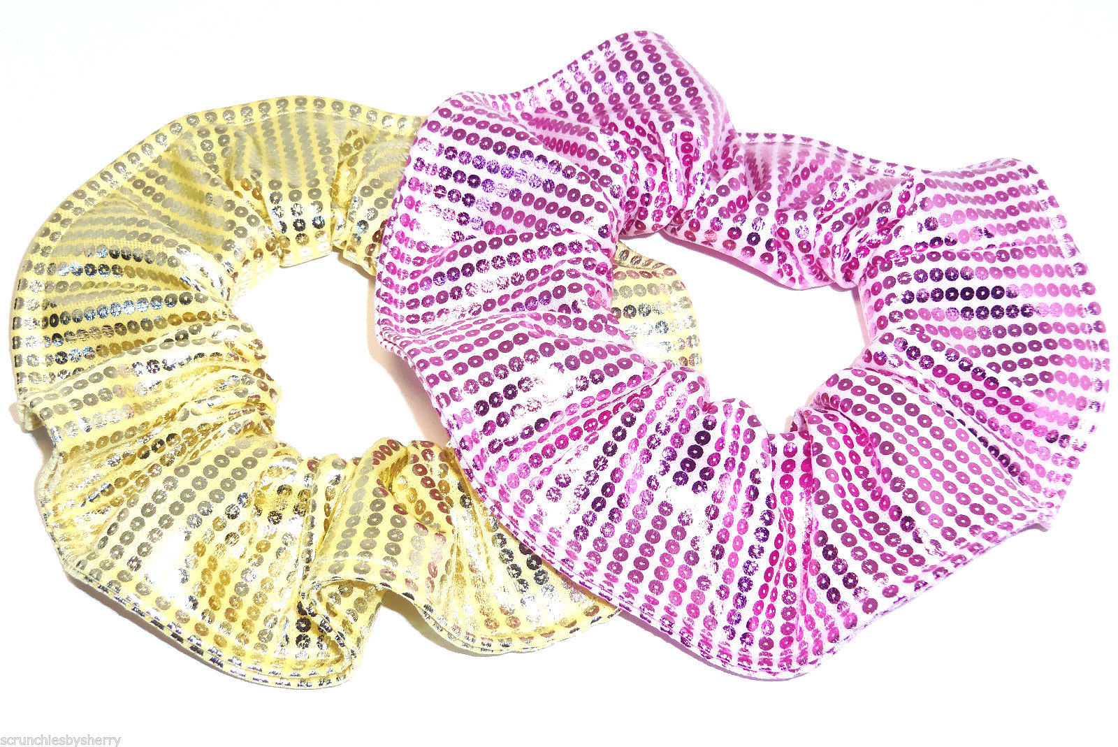 Primary image for Pink Yellow Foil Sequin Hair Scrunchies by Sherry Ponytail Holder Lot of 2