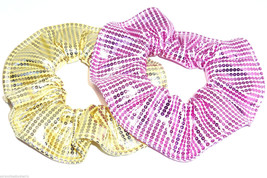 Pink Yellow Foil Sequin Hair Scrunchies by Sherry Ponytail Holder Lot of 2 - $14.95