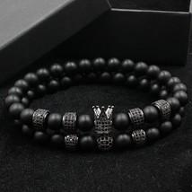 Norooni 2018 2pcs/set Uxury Fashion Crown Charm Bracelet Natural Stone For Women - $25.20