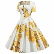 Square Collar Short Sleeves Vintage Party Midi Dresses Floral Print High... - $23.73