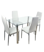 110cm Dining Table Tempered Glass Dining Table(only table) - £105.54 GBP