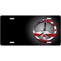 american flag peace on black offset airbrush metal license plate made in... - $28.49